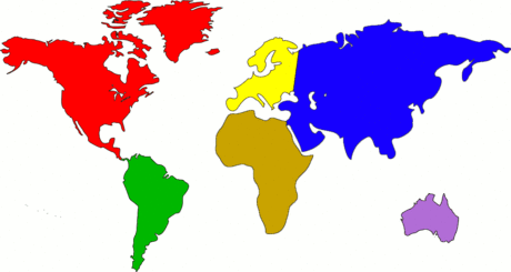 World world map color continents