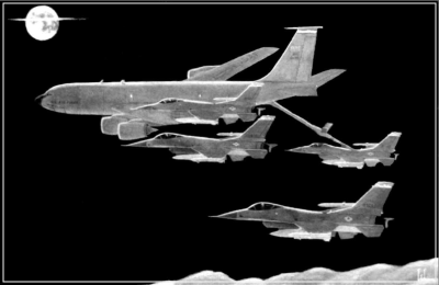 KC-135 refueling F-16s at night