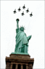 Thunderbirds over Lady Liberty clip art