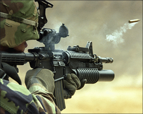 soldier army military M4 carbine discharge