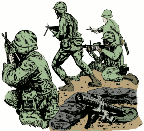 soldier army military advancing