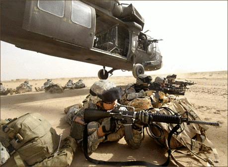 soldier army military securing landing zone in Iraq