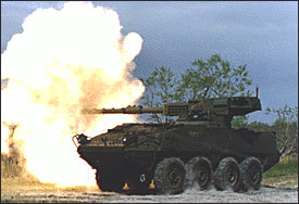 military army vehicle Mobile Gun System firing
