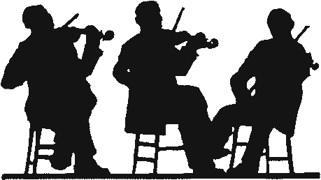 Three Fiddlers in silhouette Violin Viola