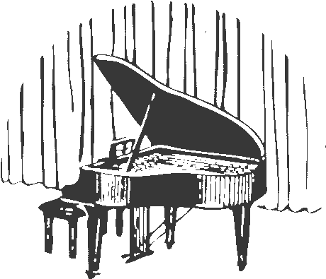 piano in front of curtain