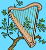 harp in a tree color clip art