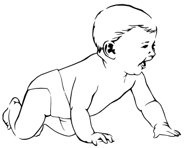 Baby happy crawling baby