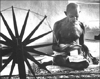 Ghandi making clothes