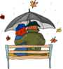 Couple in Rain clip art