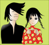 together asian couple boy girl clip art