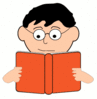 reading man with glasses clip art