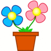 bright flowers in planter clip art
