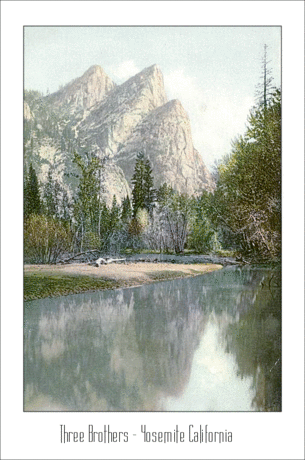 Postcard Three Brothers Yosemite Calironia