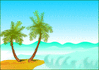 palm trees by shore clip art