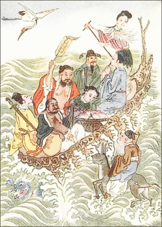 Chinese Eight Immortals Crossing the Sea