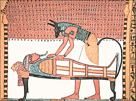 Egypt Anubis attending the mummy of Sennedjem