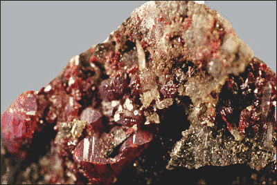 Cinnabar crystals on Quartz