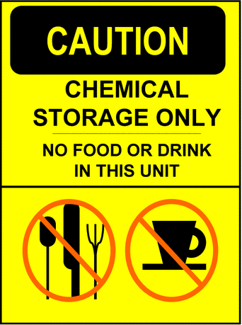 Safety caution sign no food or drink