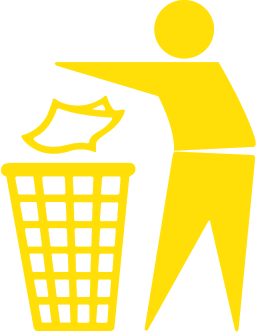 trashcan dont pollute yellow