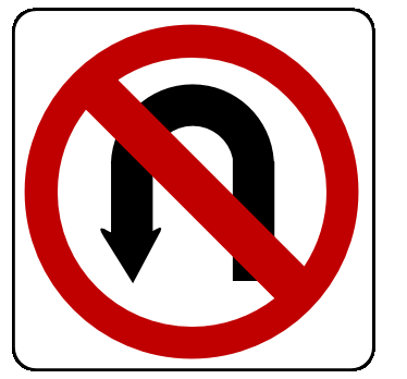 Street Road Sign no u turn sign 01