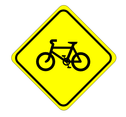 Street Road Sign watch for bicycles sign 01