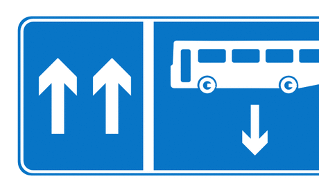 Street Road Sign bus opposite