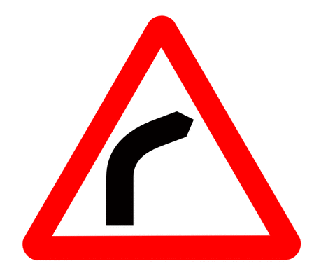 Street Road Sign curve ahead