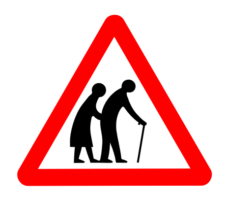 Street Road Sign old folks