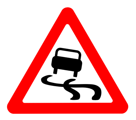Street Road Sign slippery
