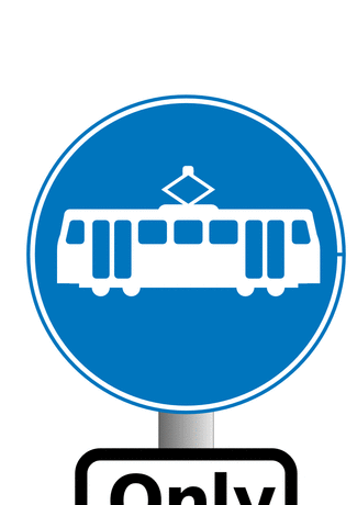 Street Road Sign trams only