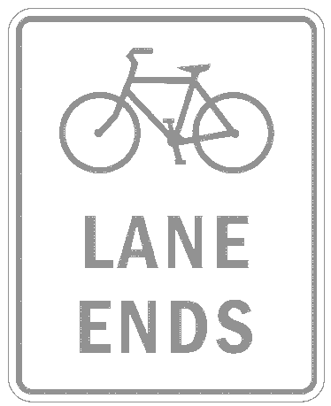 US street sign bicycle lane ends