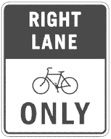US street sign bicycle right lane only