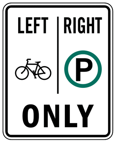 US street sign bike left pedestrian right