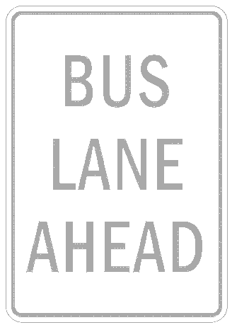 US street sign bus lane ahead