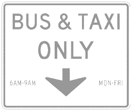 US street sign bus taxi only