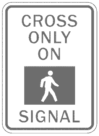 US street sign cross only on signal