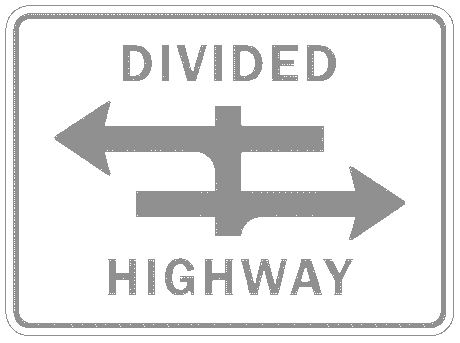 US street sign divided highway