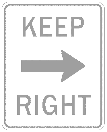 US street sign keep right