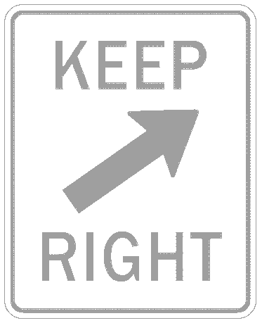 US street sign keep right 2