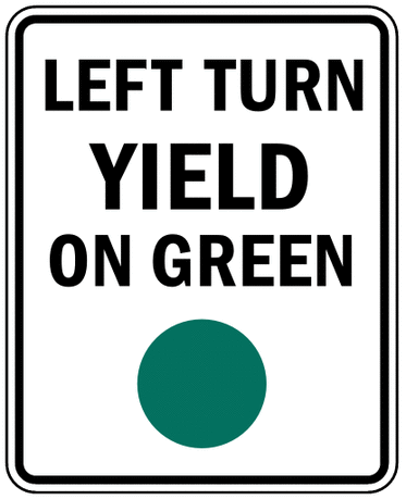 US street sign left turn yield on green