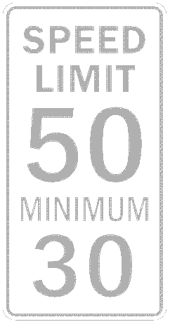 US street sign limit 50 minimum 30