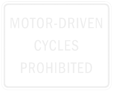 US street sign motor driven cycles prohibited