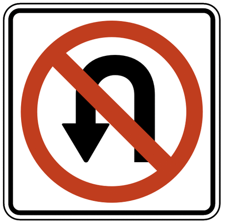 US street sign no U turn