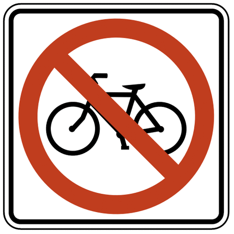 US street sign no bicycles