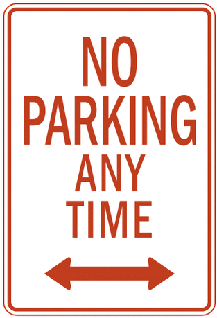 US street sign no parking any time