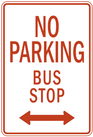 US street sign no parking bus stop