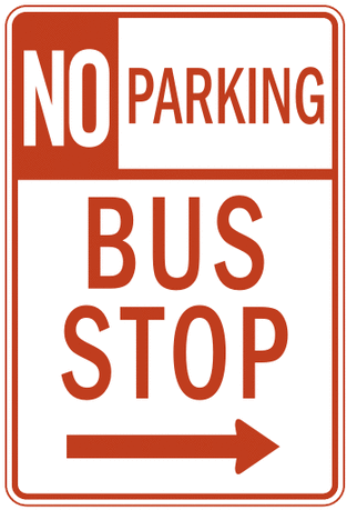 US street sign no parking bus stop 2