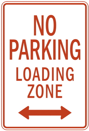US street sign no parking loading zone