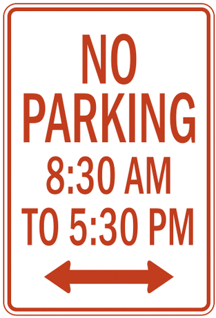 US street sign no parking time 1