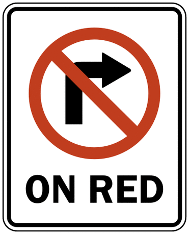US street sign no right on red symbol